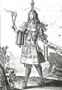 Gravure humoristique représentant l'habit de chirurgien, composé de tous les instruments en usage à l'époque.